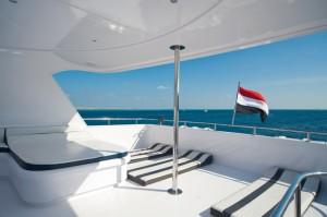 Das Diveaholics Safariboot Seawolf Dominator Blick vom Oberdeck