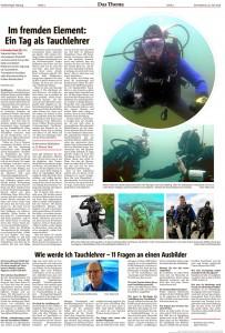 Ein Tag als Tauchlehrer Artikel OTZ 25.7.15